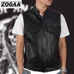 Wholesale leather vest men motorcycle for sale - Group buy ZOGGA Men Vest Black Biker Motorcycle Hip Hop Waistcoat Male Faux Leather Punk Solid Black Spring Sleeveless Leather Vest