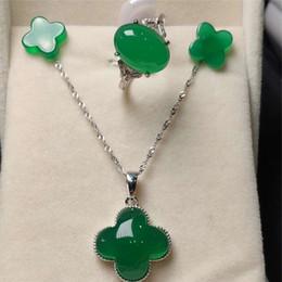 $enCountryForm.capitalKeyWord Australia - 3pcs 925 Sterling Silver Natural green classic Jade Gemstone Pendant Necklace Bracelet Earrings Women Jewelry Set