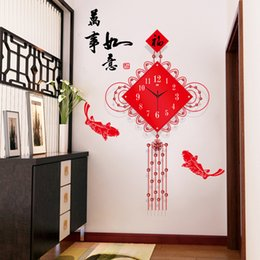 $enCountryForm.capitalKeyWord Australia - Chinese Knot Wall Clock Living Room Mute Clock Chinese Creative Home Art Fashion Decorative Quartz 2019 Hot Products