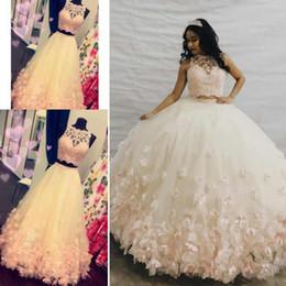 Venta al por mayor de 2019 2 piezas vestidos de quinceañera vestido de bola sin mangas escote redondo apliques de encaje flores 3D diseño de moda