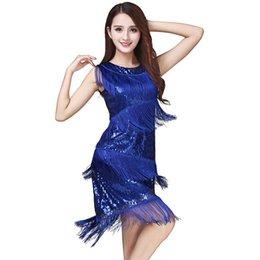 $enCountryForm.capitalKeyWord Australia - Women Latin Dance Tassel Dress Costume Crew Neck Sleeveless Allover Sequin Tiered Fringe Swing 1920s Gatsby Flapper Party Dress