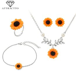 ring slides Canada - ATTRACTTO Fashion Sunflower Shape Wedding Necklace Earrings Ring Bracelet Sets For Bridal Elegant Lady's Jewelry Set SET190001
