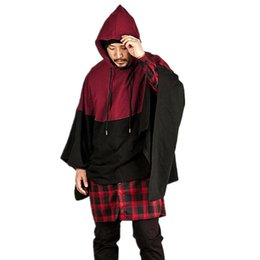 Blue Cotton Cloak UK - 2017 Men's Winter Cotton Hooded Coat Smock Pullovers Cape Cloak Poncho Sweatshrits Hoodie Red Gray Blue