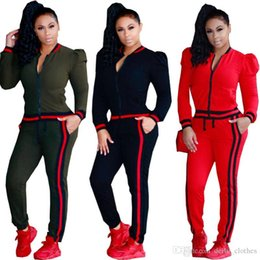 Womens Beige Casual Suit Australia - Womens Casual Fashion Autumn Spring Long Sleeved Two-piece Jogger Set Ladies Fall Tracksuit Sweat Suits Black Red Plus Size S-3XL