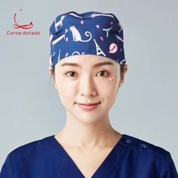 Discount plastic skull caps - Surgical cap for men and women doctors nurses cap dental cosmetic plastic surgery pet hospital working printing home