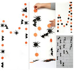 long wall stickers Australia - Halloween Decoration 4M Long Hang Ornaments For Spider Bat Pumpkin Pull Flower Wall Sticker DIY Flag WX9-1522