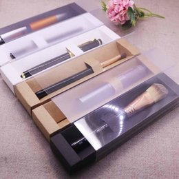 eyebrow stickers Australia - New Vintage kraft Frosted cover slide Eyebrow Box Clear Window Pen Box white Lip Sticker black Cosmetic single package