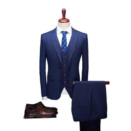 Suits Contrasting Lapels Australia - Navy Striped High Quality Mens Wedding Suits Formal Notched Lapel Suits 2 Pieces Wedding Groom Tuxedos Prom Slim Fit