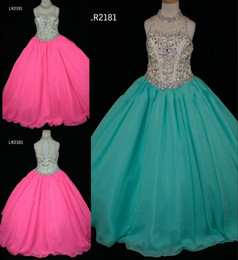 real cute girl princess dress Canada - 2020 Cute Hot Pink Aqua Girls Pageant Dresses Ball Gown High Neck Chiffon Bling Beaded Crystal Hollow Back Cheap Long Flower Girls dress