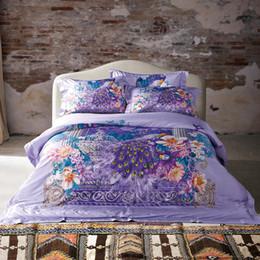 $enCountryForm.capitalKeyWord Australia - Svetanya brocade Digital printing Bedding Sets 100% Cotton Duvet Cover Set Queen King Size Flowers purple Bedlinen