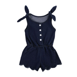 Toddler Sexy Australia - New Fashion Sexy Newborn Toddler Kids Baby Girls Clothes Sleeveless Romper Jumpsuit Outfits Denim