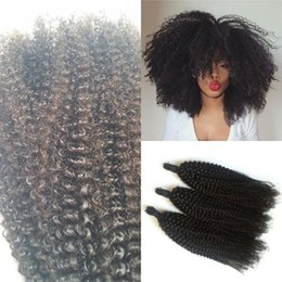 Curly Human Hair For Weaves Canada - Human Hair Weaves Kinky Curly Hair Bulk 100% Unprocessed Peruvian Indian Malaysian Mongolian Bulk Hair for 3 Pcs FDSHINE