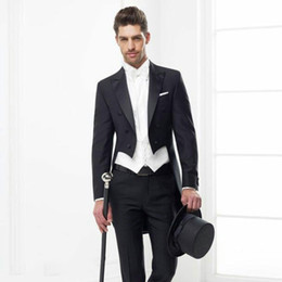 back coating UK - Men Suits for Wedding Black Tailcoat Groom Tuxedos 3Piece Wide Peaked Lapel Latest Coat Pant Designs Slim Fit Terno Masculino Costume Homme