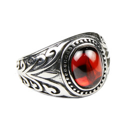 silver ring 925 engraved 2019 - Real 925 Sterling Silver Jewelry Vintage Rings For Men Engraved Flowers With Black Onxy Red Garnet Natural Stone Fine Je