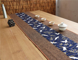 linen cloths NZ - Latest Patchwork Animal Crane Dining Table Runner Christmas Party Table Decor Protection Pad Rectangle Natural Cotton Linen Tea Table Cloth