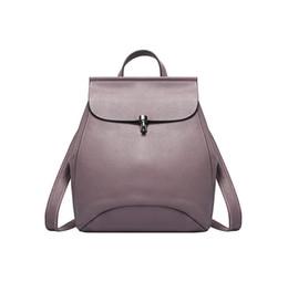 Ladies Grey Backpack Handbag Australia - Genuine leather waterproof women double shoulder backpacks lady fashion travel purses female casual designer handbags 5 colors