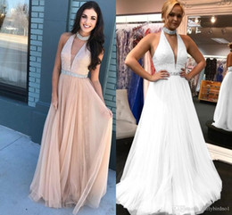 Wholesale pink ribbon t shirts for sale – custom Sexy Shinny A line Party Dresses Cheap Long Sequined Dusty Pink Prom Evening Formal Dress Halter Backless Club Cocktail Gown