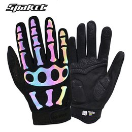 Bicycle Black Ghost Australia - SPAKCT Bicycle Reflective Gloves Winter Breathable Full Finger Unisex Ghost Claw Skull Gloves Outdoor Sports Cycling Bike Gloves