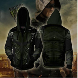 novo 3D Hoodies Costume Verde arrow Vestuário Oliver QueenZip Up Hoodie 3D impresso topos Zipper Hoodies