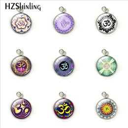 Wholesale Mandala Pendant NZ - New Arrival Om Meditation Mandala Yoga Sign Dome Stainless Steel Plated Charms Hand Craft Jewelry Glass Cabochon Pendants Gifts
