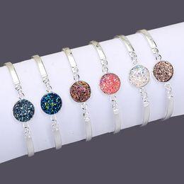 Fish Crystal Australia - Fashion Woman Candy Colors Round Silver Chain Crystal Diamonds Bracelet Bangle Adjustable Simple Bracelets Hip Hop Bracelet