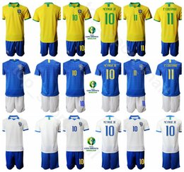 Neymar brazil soccer online shopping - 2019 Copa America Brazil Soccer Yellow Purple Neymar Jr Jersey Set Roberto Firmino Philippe Coutinho Football Shirt Kits Uniform