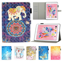 Wholesale 3d tablets resale online - 3D Colorful Painting Leather Tablet Case for iPad Air Pro Mini Samsung Galaxy Tab A T290 Multi Card Slots Protective Cover