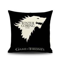 game thrones pillow case NZ - Game of Thrones Ice and Fire Cushion Covers American Drama Eagle Lion Fish Beige Linen Pillow Case 45X45cm Sofa Chair Decor
