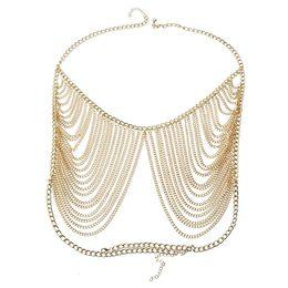 Bikini Chains Accessories Australia - New design women personality tassel gold body chain jewelry for armor shawl symmetric multi layer exaggerated bikini chains accessories