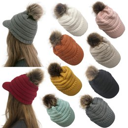 $enCountryForm.capitalKeyWord NZ - Winter Women Knitted Hat Warm Pom Pom Wool Hat Ladies Skull Beanie Solid Female Outdoor Caps LJJA2757