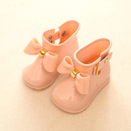 Designer water shoes online shopping - Kids Designer Shoes Girls Mini Melissa Shoes Baby Bows Jelly Rain Boots New Non Slip Princess Short Boots Children Jelly Water Boots