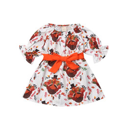 dresses turkey wholesalers Canada - Newborn Kids Baby Girl Cartoon Turkey Party Tutu Dress Clothes For Thanksgiving