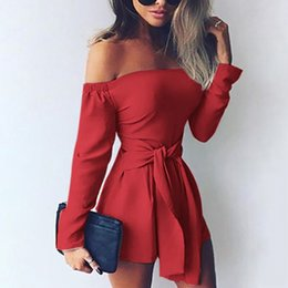 125ebb02c66 Sexy Rompers Womens Jumpsuit 2019 Summer Playsuits Off Shoulder Slash Neck  Sash Casual Bodysuit Long Sleeve Plus Size Overalls