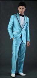 $enCountryForm.capitalKeyWord Australia - Custom natural blue men's suit three-piece men's wedding dress new Lang best man dance best suit (coat + vest + pants)