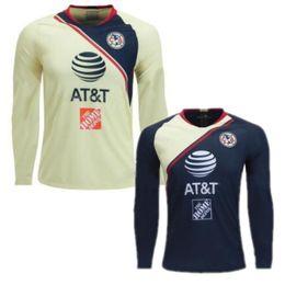 292e567176f 18 19 Club America Long Sleeve Soccer Jersey Mexico Club Soccer Uniform  2019 Club America Full Sleeve Home Away Football Shirt