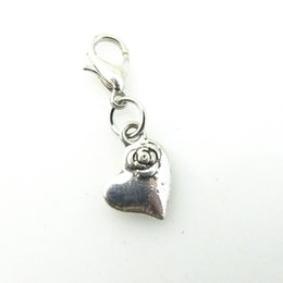 Heart Key Dangle Australia - DIY Charms With Lobster Clasps Dangles Necklaces Crafts Key Chains Pendants Vintage Silver Key rose heart Metal Jewelry