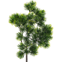 home balcony decoration plants NZ - 38x28cm Artificial Pine Needles Fake Plants Branches Home Balcony Garden Party Decoration Artificial Flowers Fake Leaves