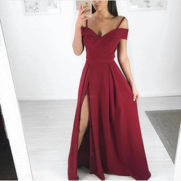 Discount simple party dress styles - 2019 Red Off The Shoulder Prom Dresses Simple Style Side Split Floor Length Formal Occasion Evening Party Dresses Custom