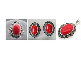 $enCountryForm.capitalKeyWord Australia - Fashion designed red carved marcasite lacquer Silver Silver ring earrings and pendant jewelry sets
