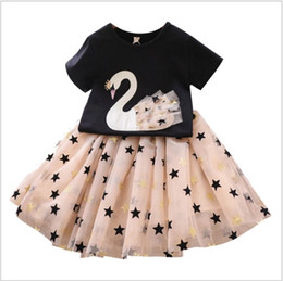 $enCountryForm.capitalKeyWord Australia - 2019 New Summer Lovely Big Girls Clothing Sets Short Sleeve Swan T-shirts+Star Tutu Skirts 2pcs Set Girl Suit Kids Outfits Children Clothes