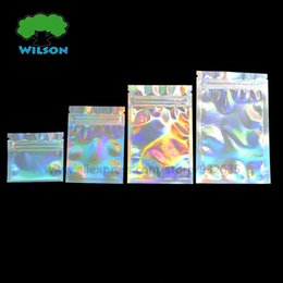 Cosmetic Bags Locks Australia - PET Holographic Food Storge Zip Lock Bag Laser Foil Pouch Reusable Use Cosmetic Bag Many Size Wholesale Price 100