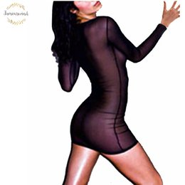 sexy long sleeve fitted dresses Australia - Strech 2019 Women Dress Slim Kimono Sleeve Fit Transporant Sexy Mini Dresses Long Sleeve O Neck Vestidos S 2Xl