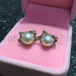 Kitty For Free Australia - 925 Sterling Silver Material Pearl Stud Earrings White Round Steamed Bread Pearl Hello Kitty Earring Jewelry Gift For Women Free Shipping