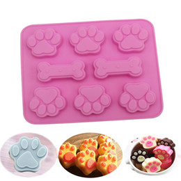 silicone dogs Canada - 2-in-1 Silicone Baking Mold Dog Bone Dog Footprint Cake Mold Food Grade Silicone Material Mould Baking Tool Kitchen Creative