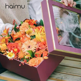 packaging bouquets Canada - 2pcs Half Window Square Gilding Edge Box Packaging Flower Bouquet Box Wedding Favor Gifts Florist Decoration Boxes