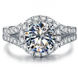 $enCountryForm.capitalKeyWord Australia - 2CTW 8mm Test Positive Moissanite Diamond Ring CHARLES & COLVARD WARRANTY Real 925 Sterling Silver Ring White Gold Color