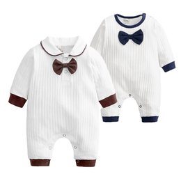 $enCountryForm.capitalKeyWord Australia - Newborn Baby Boy Girl Clothes Kids Bows Tie Long Sleeve Cotton Rompers 2019 New INS Spring Autumn Infant Toddler Jumpsuit One Piece Clothing