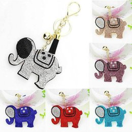 Car Key Cover Pink Australia - Fashion Cute multicolor Elephant Keychain Female Cute Key Chains key Covers Rhinestone Mosaic Leather Fringed Key Cap Gift Mix Colors