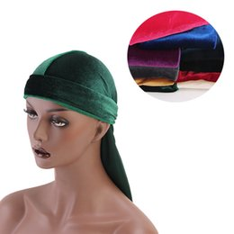 Unisexe Hommes Femmes Respirant Bandana Velours Turban Chapeau Durag doo du rag Headwear Headscarf longue queue headwrap Cap Accessoires De Cheveux en Solde