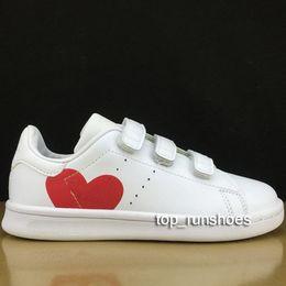 Baby Shoes Red White Australia - 2019 Kid children baby girl Love Shoe For Boys girls Kawakubo Hook & Loop pink red multi white samba stan smith kid casual shoes sieze22-35